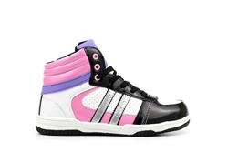 Ascot Girls High Top Trainers Pink/Purple/Black/White