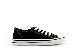Kids Canvas Low Top Trainers Black/White