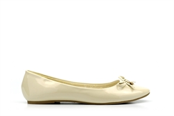Womens Ballet Pumps With Bow Detail Beige