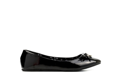 Womens Ballet Pumps With Bow Detail BLack