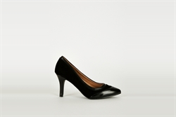 Womens Black Court Shoes With Real Leather Insole