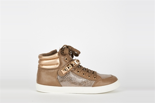 Womens Brown Studded High Top Trainers