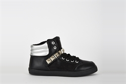 Womens Black Studded High Top Trainers
