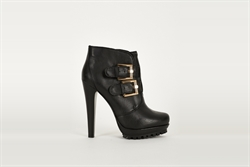 Womens Black Ankle Boots With Double Strap Buckle Detail