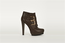 Womens Brown Ankle Boots With Double Strap Buckle Detail