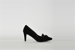 Womens Faux Suede Court Shoes With Bow Detail Black