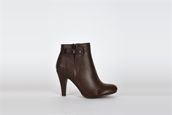 Womens Dark Brown Ankle Boots With Side Stud Detail
