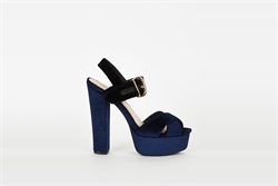 Womens High Heel Platform Peep Toe Sandals Navy/Black