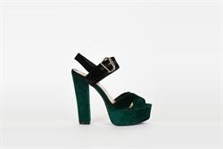 Womens High Heel Platform Peep Toe Sandals Green/Black