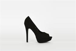 Womens High Heel Platform Peep Toe Shoes Black