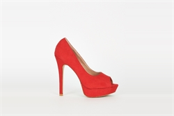Womens High Heel Platform Peep Toe Shoes Red