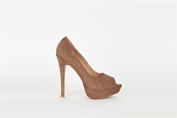 Womens High Heel Platform Peep Toe Shoes Brown