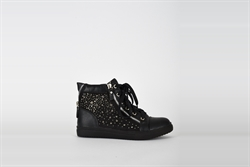 Womens Casual High Top Trainers With Diamante Detail