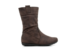 Girls Brown Leather Look Calf Boots With Side Zip Fastening
