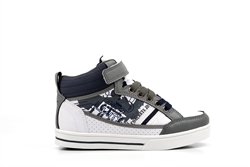 Mercury Boys Lace Up/Velcro High Top Trainers Grey/Navy/White