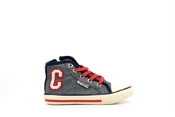 Chipmunks Boys High Top Trainers Denim/Red/White