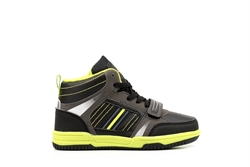 Ascot Boys High Top Lace Up And Velcro Trainers Black/Green
