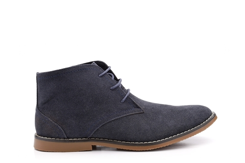 Mens Desert Boots With Stitching Detail Navy