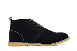 Mens Desert Boots With Stitching Detail Black