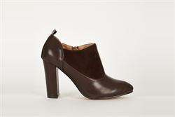 Womens Faux Suede Block Heel Ankle Boots Brown
