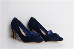Womens Faux Suede Court Shoes With Bow Detail Blue