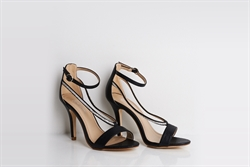Womens Open Toe High Heel Ankle Strap Sandals With Diamond Detail