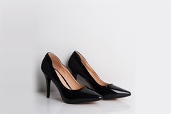 Womens Elegant Pointed Toe High Heel Patent Court Shoes With Glitter Detail