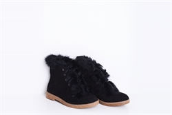 Womens Lace Up Ankle Boots With Faux Fur Detail Black