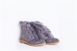 Womens Lace Up Ankle Boots With Faux Fur Detail Grey