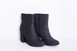 Womens Glitter High Heel Ankle Boots Black