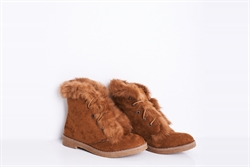 Womens Lace Up Ankle Boots With Faux Fur Detail Camel