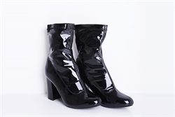 Womens Black Vinyl Finish Ankle Boots With Seam Detail