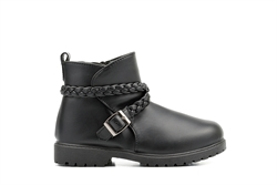 Girls Ankle Boots With Pleated Strap and Buckle Detail Black