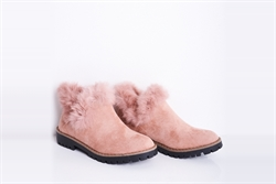 Womens Faux Suede Ankle Boots With Faux Fur Detail Pink