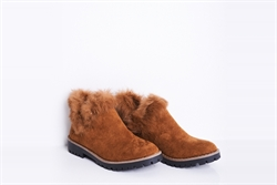 Womens Faux Suede Ankle Boots With Faux Fur Detail Camel