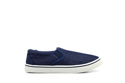 Boys Canvas Slip On Shoes With Twin Gusset Blue