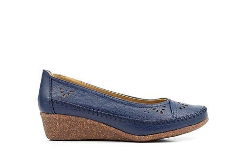 Natrelle Womens Slip On Casual Wedge Shoes Navy