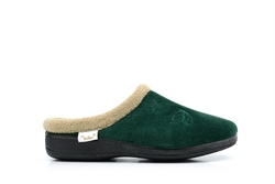 Dr Keller Womens Mule Slippers With Embroidered Flower Detail Green
