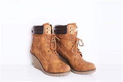Womens Faux Leather Lace Up Wedge Boots Camel