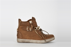 Womens Hi Top Trainers With Chain and Zip Detail Brown