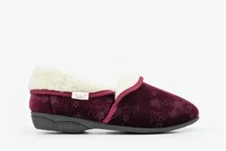 Dr Keller Womens Slip On Slippers With Fleece Lining Burgundy
