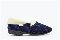 Dr Keller Womens Slip On Slippers With Fleece Lining Navy