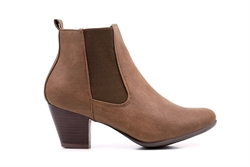 Comfort Plus Womens Faux Leather Ankle Boots Brown
