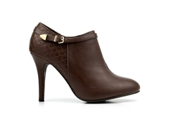 Womens High Heel Ankle Boots With Real Leather Insole Brown