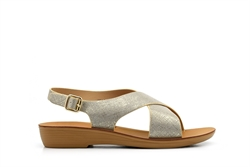 Dr Keller Womens Slingback Comfort Sandals With Low Wedge And Buckle Fastening Gold