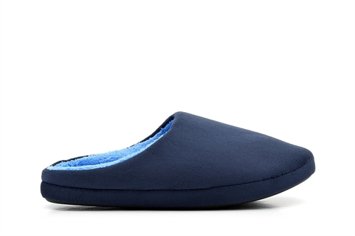 Mens Mule Slippers With Contrasting Lining Navy