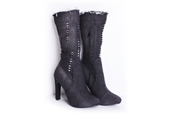 Womens Distressed Denim Boots Black