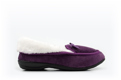 Womens Moccasin Slippers With Full Fur Lining And Bow Detail Purple