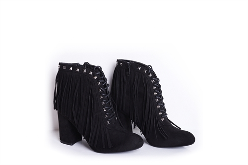 Womens Faux Suede Fringed Ankle Boots With Stud Detail Black