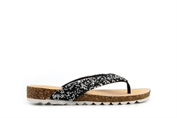 Womens High Sparkle Toe Post Sandals Black